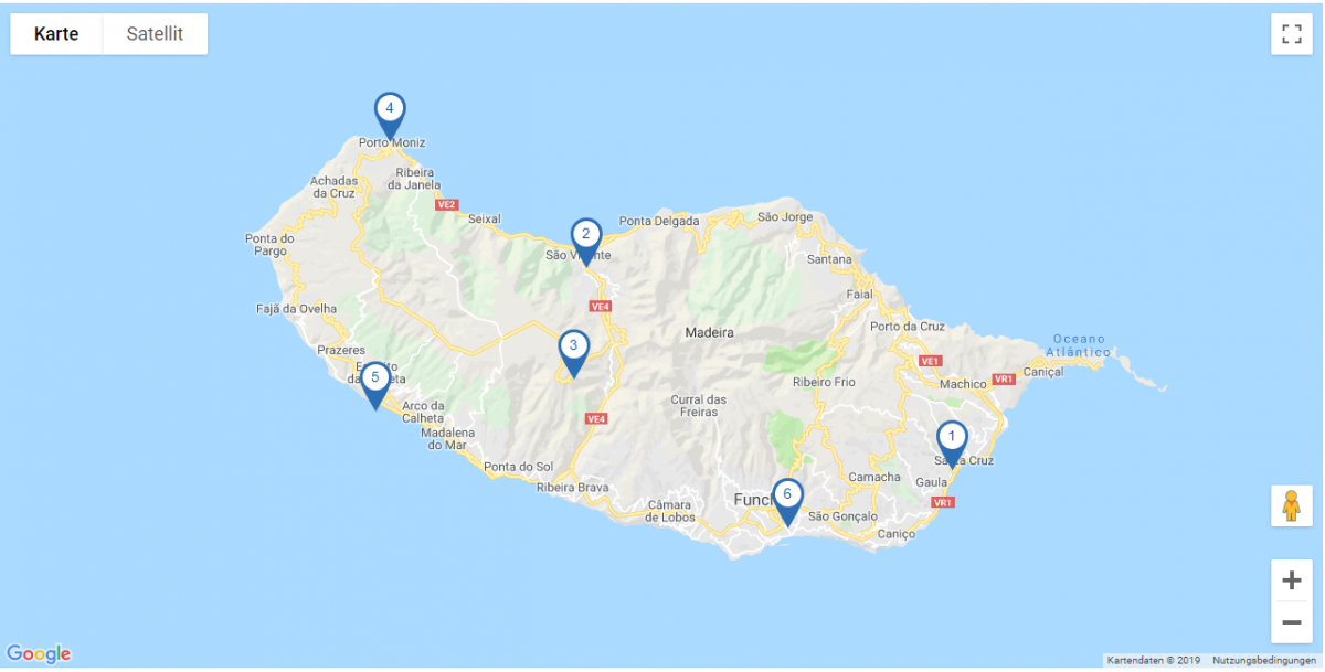 Map Rundreise Madeira I