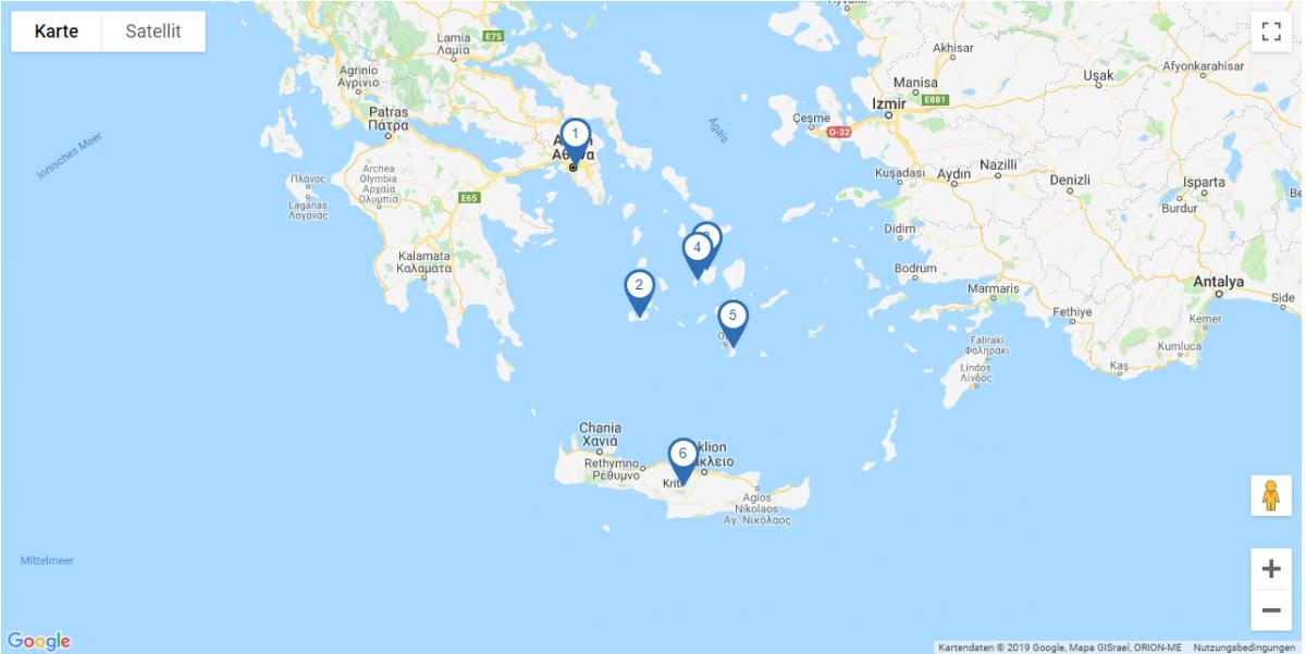 Map Rundreise Griechische Inseln I