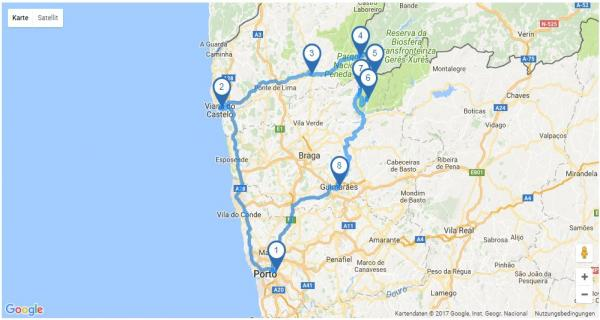 Rundreise: Costa Verde - Karte